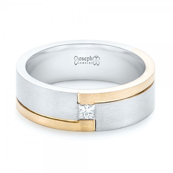 Custom Two-Tone Brushed Diamond Wedding Band