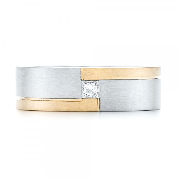 Custom Two-Tone Brushed Diamond Wedding Band - Top View