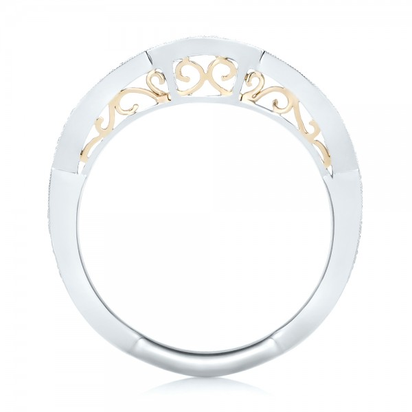Custom Two-Tone Diamond Wedding Band - Finger Through View