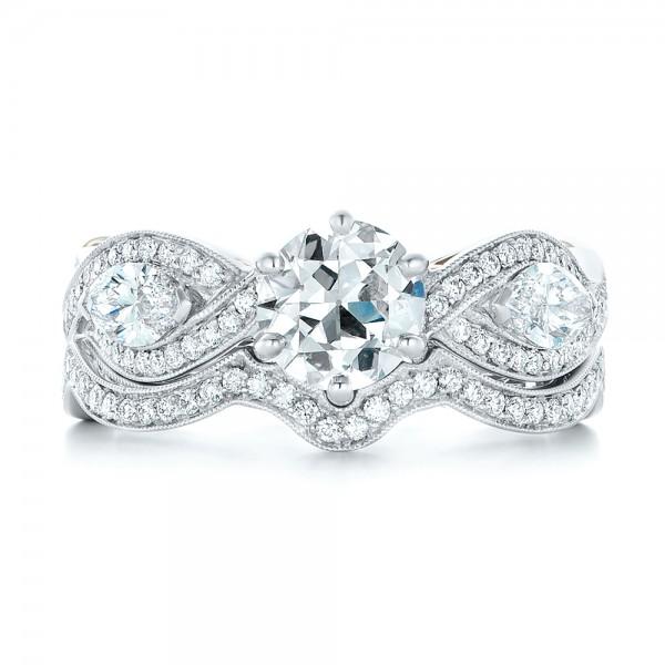 Custom Two-Tone Diamond Wedding Band - Top View