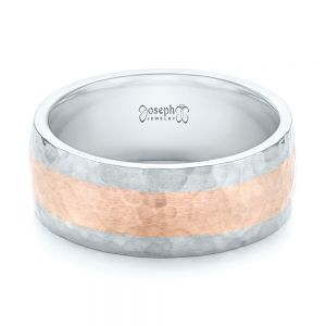 Custom Two-Tone Hammered Satin Finish Wedding Ring