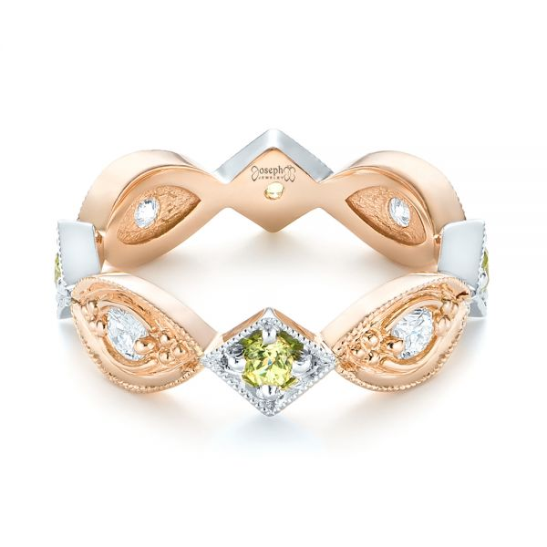 Custom Two-Tone Peridot and Diamond Wedding Band - Flat View -  103365 - Thumbnail