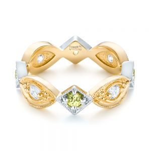 Custom Two-Tone Peridot and Diamond Wedding Band