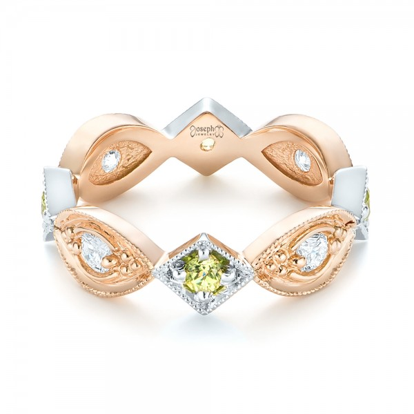 Custom Two-Tone Peridot and Diamond Wedding Band - Laying View