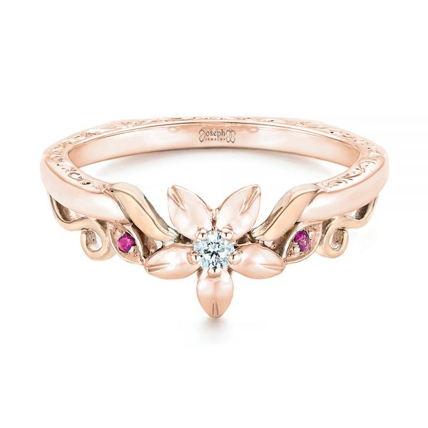 14k Rose Gold And 18K Gold 14k Rose Gold And 18K Gold Custom Two-tone Pink Sapphire And Diamond Wedding Band - Flat View -