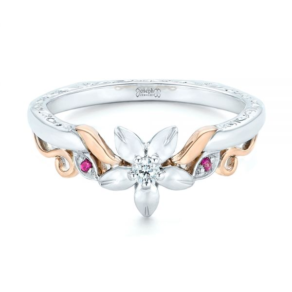 14k White Gold And 14K Gold Custom Two-tone Pink Sapphire And Diamond Wedding Band - Flat View -  102828