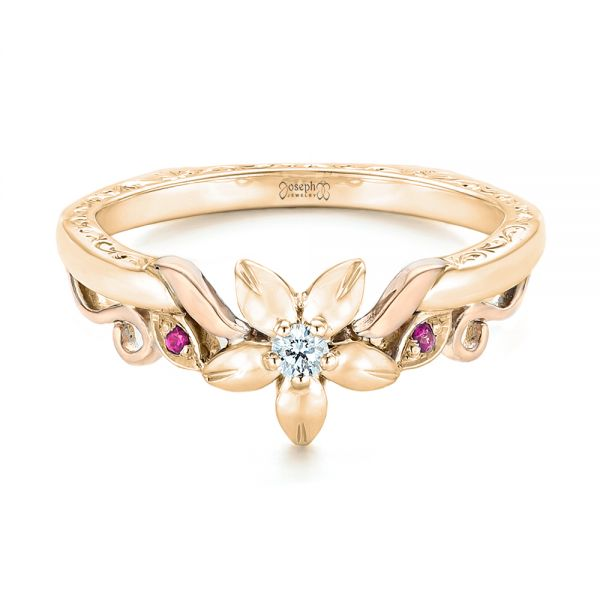 18k Yellow Gold And 14K Gold 18k Yellow Gold And 14K Gold Custom Two-tone Pink Sapphire And Diamond Wedding Band - Flat View -