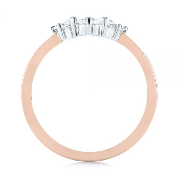 18K Gold And 14k Rose Gold 18K Gold And 14k Rose Gold Custom Two-tone Three Stone Ring - Front View -  104366