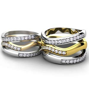 Custom Two-Tone Triple Ring Set