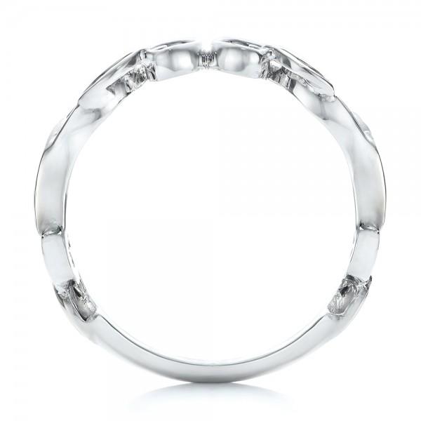 Custom Two-Tone Women's Wedding Band - Finger Through View