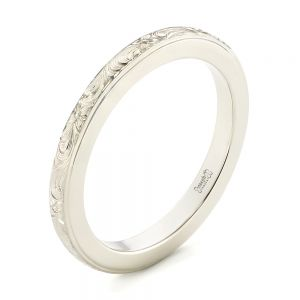 Custom Unplated Hand Engraved Wedding Band