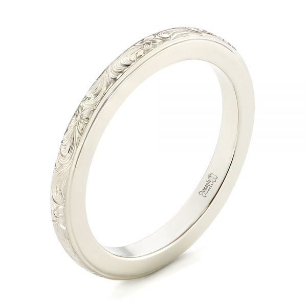 Custom Unplated Hand Engraved Wedding Band - Image