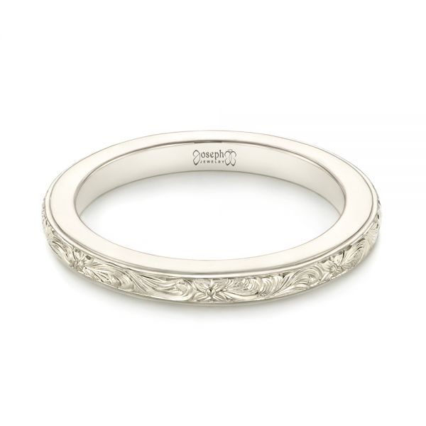 Platinum Platinum Custom Unplated Hand Engraved Wedding Band - Flat View -