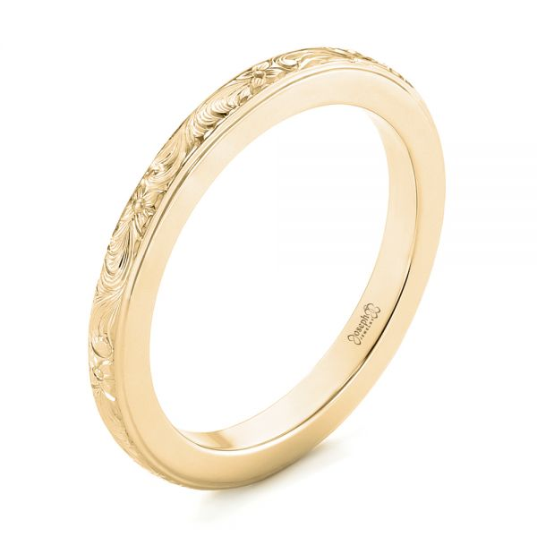 18k Yellow Gold 18k Yellow Gold Custom Unplated Hand Engraved Wedding Band - Three-Quarter View -  103516