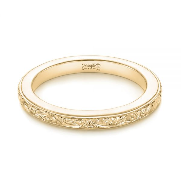 18k Yellow Gold 18k Yellow Gold Custom Unplated Hand Engraved Wedding Band - Flat View -  103516
