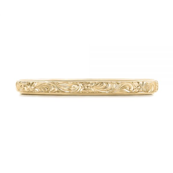 18k Yellow Gold 18k Yellow Gold Custom Unplated Hand Engraved Wedding Band - Top View -  103516