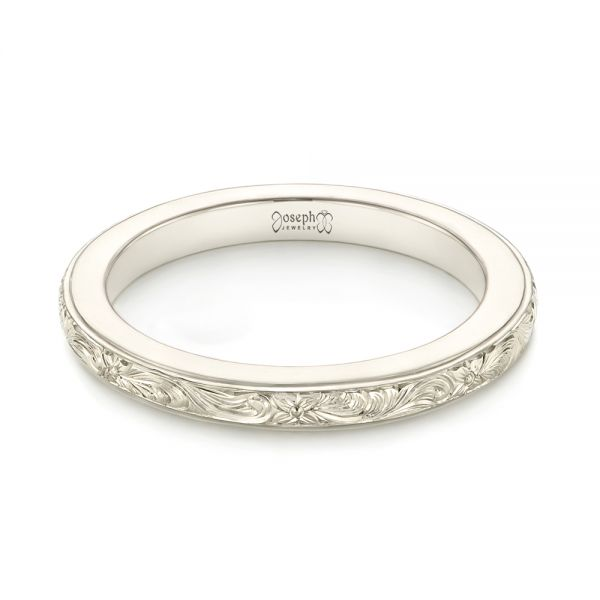 Custom Unplated Hand Engraved Wedding Band - Laying View