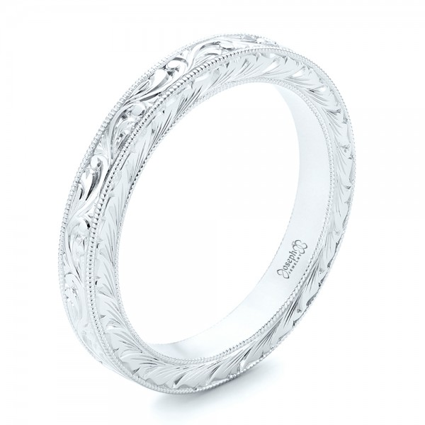White Gold Hand Engraved Wedding Band 102436