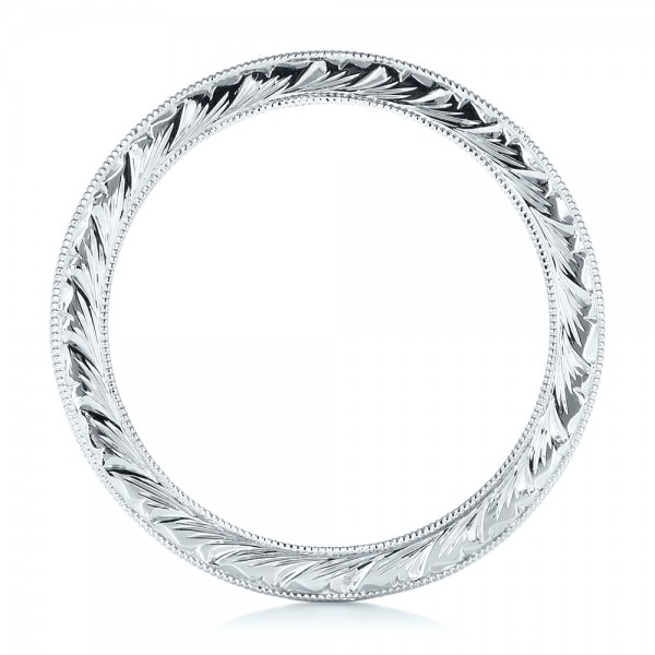 White Gold Hand Engraved Wedding Band - Finger Through View