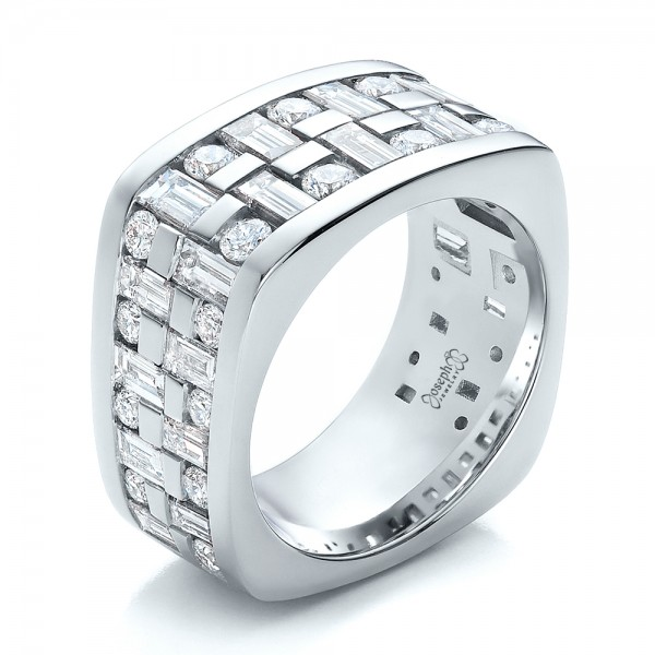 Custom Women's Channel Set Diamond Anniversary Band - Three-Quarter View -  100481 - Thumbnail
