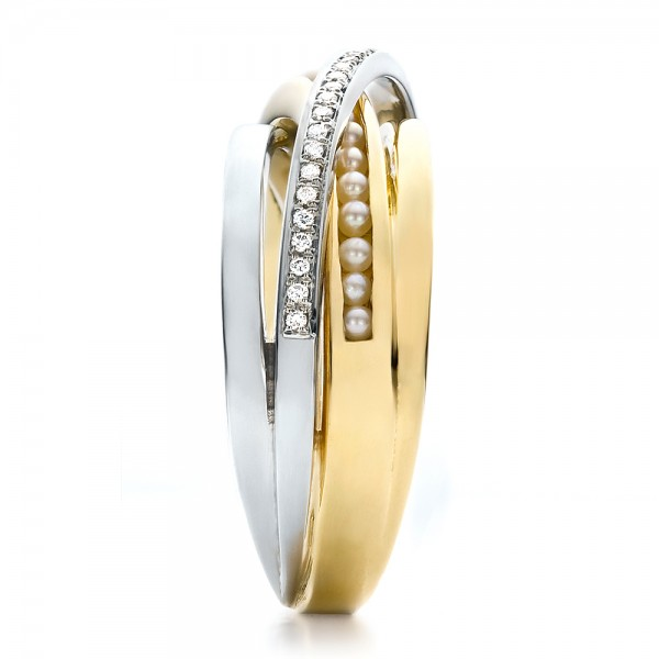 Custom Women's Pearl and Diamond Wedding Band - Side View -  100011 - Thumbnail
