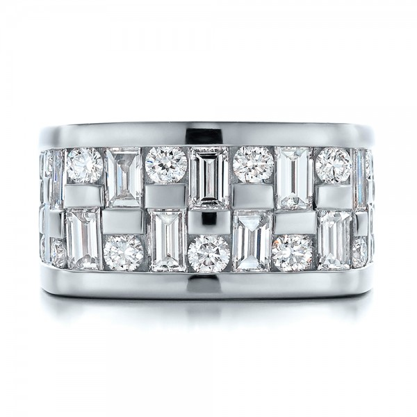 Custom Women's Channel Set Diamond Anniversary Band - Top View -  100481 - Thumbnail