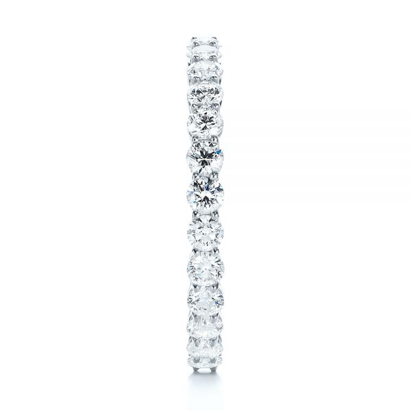 14K White Gold Custom Yellow Gold Diamond Eternity Band - Side View -  103466 - Thumbnail