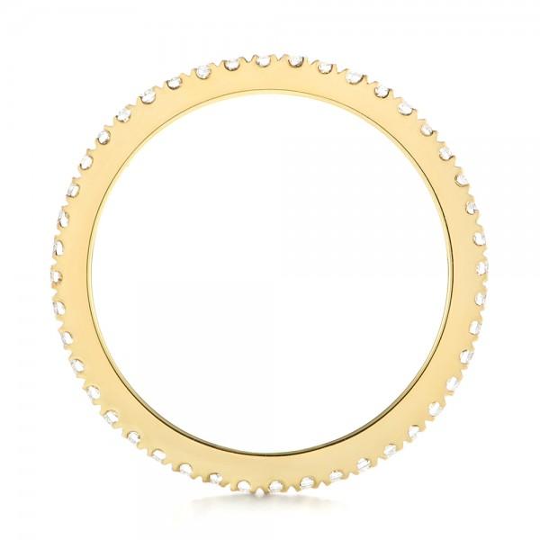Custom Yellow Gold Diamond Eternity Band - Finger Through View