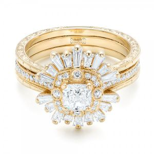 Custom Yellow Gold Diamond Jacket Wedding Band