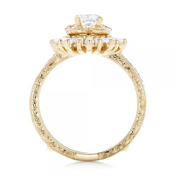 Custom Yellow Gold Diamond Jacket Wedding Band - Finger Through View
