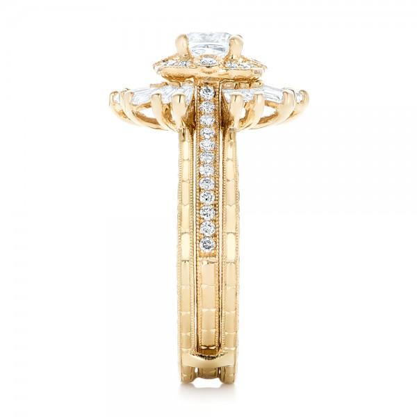 Custom Yellow Gold Diamond Jacket Wedding Band - Side View