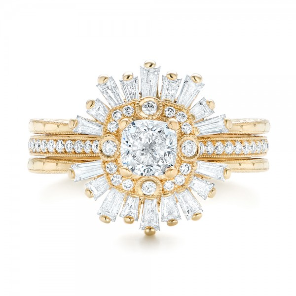 Custom Yellow Gold Diamond Jacket Wedding Band - Top View