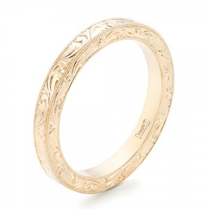 Yellow Gold Hand Engraved Wedding Band