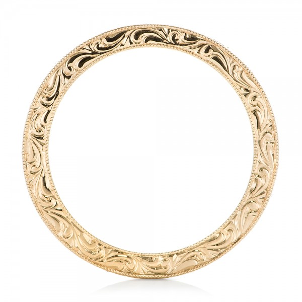 Yellow Gold Hand Engraved Wedding Band - Finger Through View