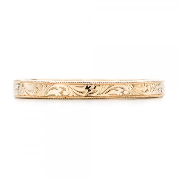 Yellow Gold Hand Engraved Wedding Band - Top View