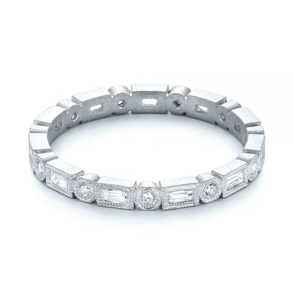 14k White Gold 14k White Gold Custom Sandblasted Diamond Eternity Wedding Band - Flat View -