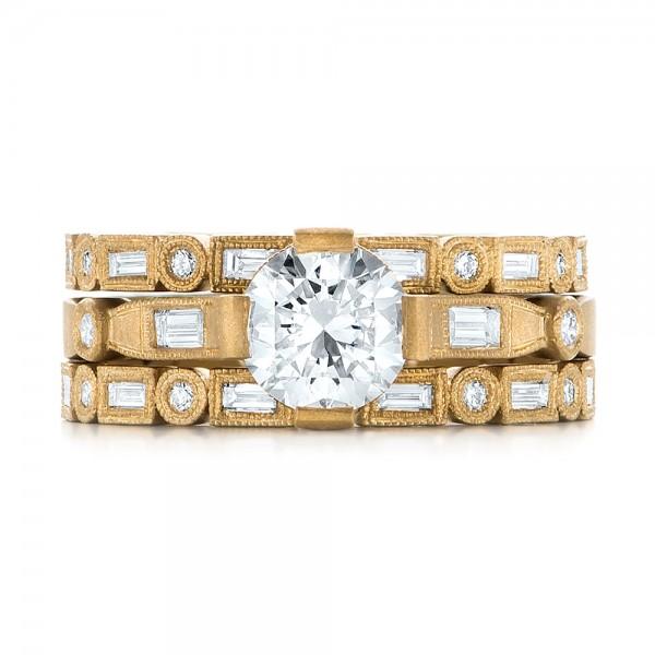 Custom Yellow Gold Sandblasted Diamond Eternity Wedding Band - Top View
