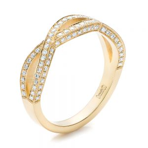 Custom Yellow Gold and Diamond Wedding Band - Image