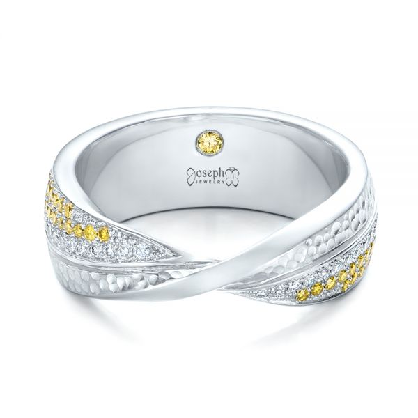 Platinum Custom Yellow And White Diamond Wedding Band - Flat View -