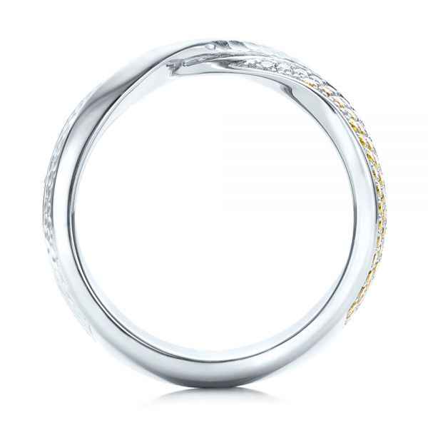 Platinum Custom Yellow And White Diamond Wedding Band - Front View -
