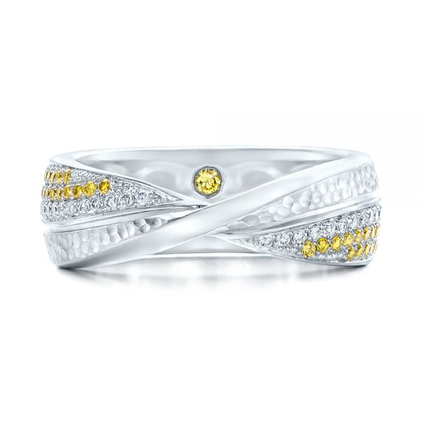 Platinum Custom Yellow And White Diamond Wedding Band - Top View -