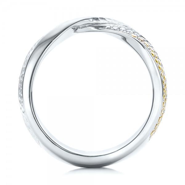 Custom Yellow and White Diamond Wedding Band - Finger Through View