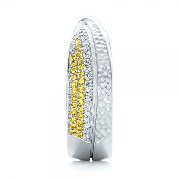 Custom Yellow and White Diamond Wedding Band - Side View