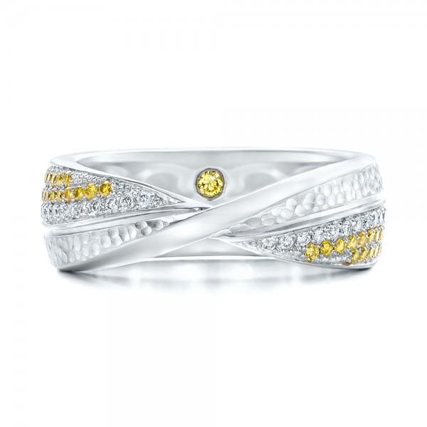 Custom Yellow and White Diamond Wedding Band - Top View
