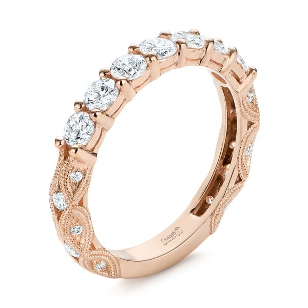 14k Rose Gold 14k Rose Gold Cut-out Diamond Wedding Band - Three-Quarter View -  105787