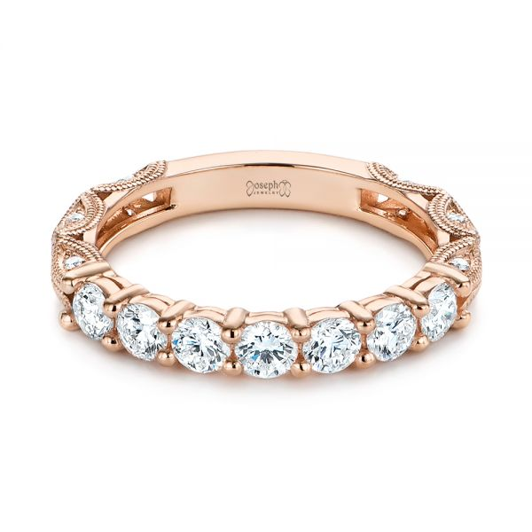 14k Rose Gold 14k Rose Gold Cut-out Diamond Wedding Band - Flat View -  105787
