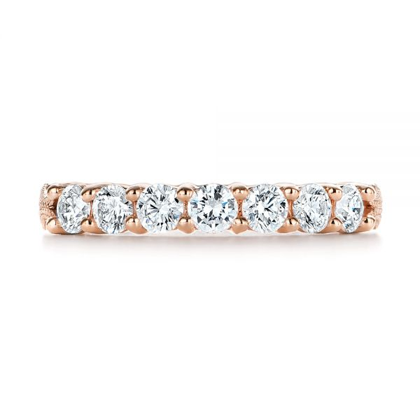 14k Rose Gold 14k Rose Gold Cut-out Diamond Wedding Band - Top View -  105787