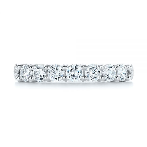 18k White Gold 18k White Gold Cut-out Diamond Wedding Band - Top View -  105787 - Thumbnail