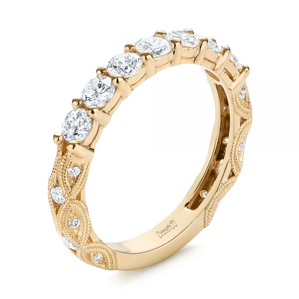 18k Yellow Gold 18k Yellow Gold Cut-out Diamond Wedding Band - Three-Quarter View -  105787
