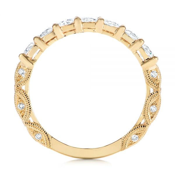 18k Yellow Gold 18k Yellow Gold Cut-out Diamond Wedding Band - Front View -  105787
